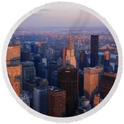 East Coast Wonder Aerial View Round Beach Towel by Emmy Marie Vickers