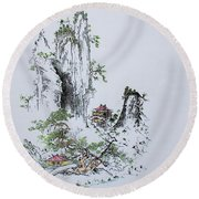 East Of Atami Round Beach Towel by Roberto Prusso