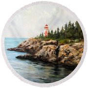 Round Beach Towel featuring the painting East Quoddy Head Light by Lee Piper