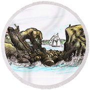 East Quoddy Lighthouse 1887 After Fenn Round Beach Towel