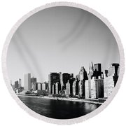 East River New York Round Beach Towel