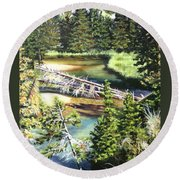 East Rosebud Inlet Stream Round Beach Towel