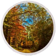 East Texas Back Roads Hdr Round Beach Towel