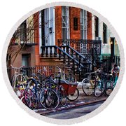 East Village Bicycles Round Beach Towel