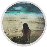 Eastcoast Round Beach Towel by Galen Valle