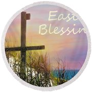 Easter Blessings Cross Round Beach Towel by Sandi OReilly