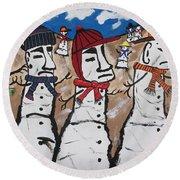 Easter Island Snow Men Round Beach Towel