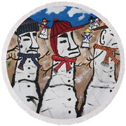 Round Beach Towel featuring the painting Easter Island Snow Men by Jeffrey Koss