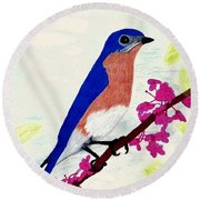 Round Beach Towel featuring the drawing Florida - Eastern - Blue Bird by D Hackett