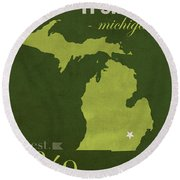 Eastern Michigan University Eagles Ypsilanti College Town State Map Poster Series No 035 Round Beach Towel