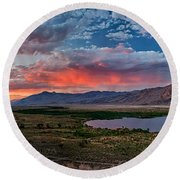 Eastern Sierra Sunset Round Beach Towel