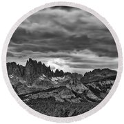 Eastern Sierras Summer Storm Round Beach Towel