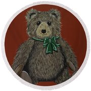 Round Beach Towel featuring the painting Easton's Teddy by Jennifer Lake