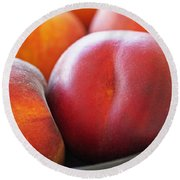 Round Beach Towel featuring the photograph Eat A Peach by Rona Black