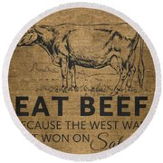 Eat Beef Round Beach Towel