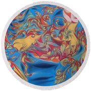 EAT Round Beach Towel by Robert Nickologianis