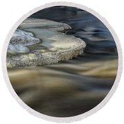Eau Claire Dells Park River Ice Round Beach Towel