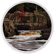 Waterfall Under Colored Leaves Round Beach Towel
