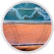 Ebb And Flow Round Beach Towel by Edgar Laureano