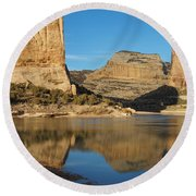 Echo Park In Dinosaur National Monument Round Beach Towel