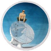 Round Beach Towel featuring the painting Echoes by Lazaro Hurtado