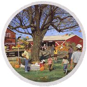 Eckert's Market Under Big Tree 1995 Round Beach Towel