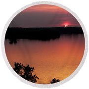 Eclipse Of The Sunset Round Beach Towel by Jason Politte