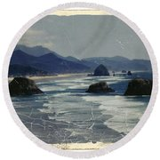 Ecola Sea Stacks Round Beach Towel