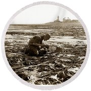 Ed Ricketts At Point Wilson Lighthouse In Port Townsend Wa July 1930 Round Beach Towel