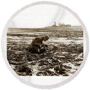 Ed Ricketts At Point Wilson Lighthouse In Port Townsend Wa 1930 Round Beach Towel