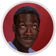 Eddie Murphy Painting Round Beach Towel by Paul Meijering