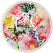 Eddie Van Halen Playing And Jumping Watercolor Portrait Round Beach Towel
