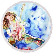 Eddie Van Halen Playing The Guitar.1 Watercolor Portrait Round Beach Towel by Fabrizio Cassetta
