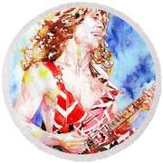 Eddie Van Halen Playing The Guitar.2 Watercolor Portrait Round Beach Towel