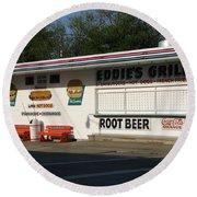 Eddie's Grill Round Beach Towel by Michael Krek