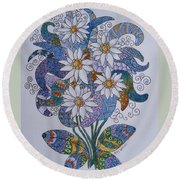 Round Beach Towel featuring the drawing Edelweiss by Megan Walsh