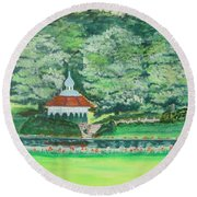 Round Beach Towel featuring the painting Eden Park  Cincinnati Ohio by Diane Pape