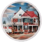 Round Beach Towel featuring the painting Edgar Home by Kip DeVore
