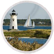 Edgartown Light At Martha's Vineyard Round Beach Towel