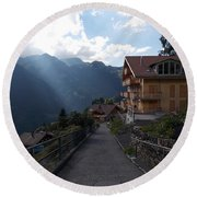 Edge Of Wengen Round Beach Towel