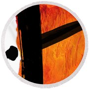 Round Beach Towel featuring the painting Edge by Paul Davenport
