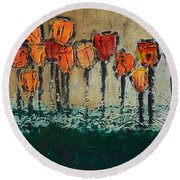 Edgey Tulips Round Beach Towel