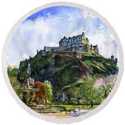 Edinburgh Castle Scotland Round Beach Towel