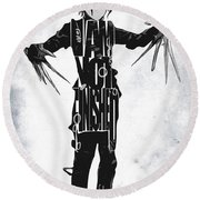 Edward Scissorhands - Johnny Depp Round Beach Towel by Ayse Deniz