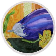 Round Beach Towel featuring the painting Eggplant And Alstroemeria by Beverley Harper Tinsley