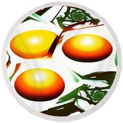 Eggs For Breakfast Round Beach Towel