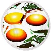 Eggs For Breakfast Round Beach Towel