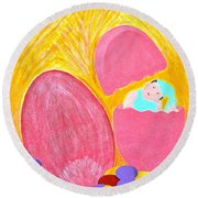 Round Beach Towel featuring the painting Eggs by Lorna Maza