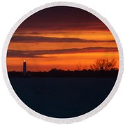 Egmont Key Lighthouse Sunset Round Beach Towel