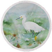 Egret 2 Round Beach Towel